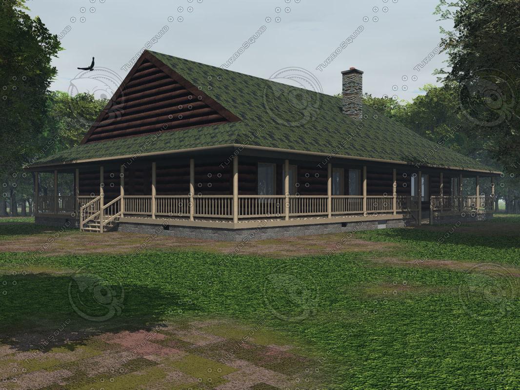 rustic log cabin 3ds
