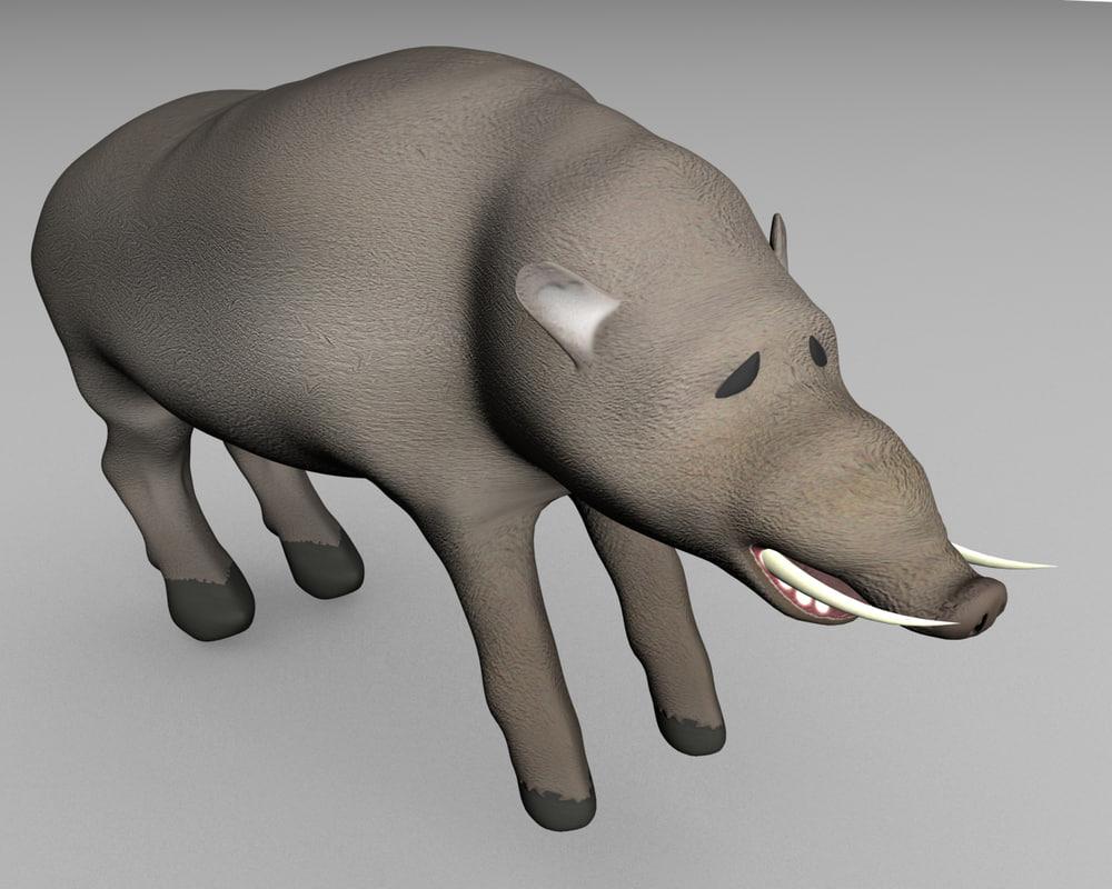 3d boar pig