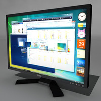 fbx low-polly dell lcd monitor