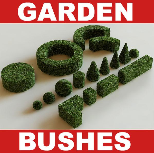 garden bushes 3d max