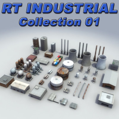 3d model of industrial construction buildings tanks