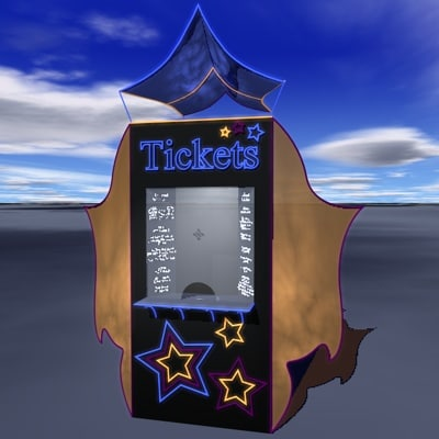 3d ticket booth path lamps