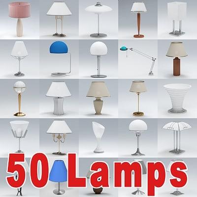 3dsmax set 50 table lamps