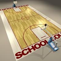 3dsmax school basketball court ball