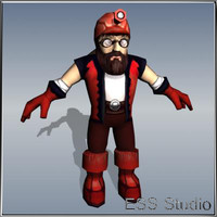 3d dwarf-discoverer polygonal realtime model