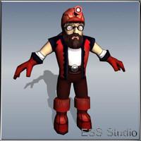 3d dwarf-discoverer polygonal realtime model