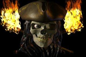 lwo talking pirate skull character