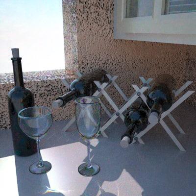 obj set wine bottle glasses