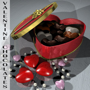 3d valentine chocolate box model