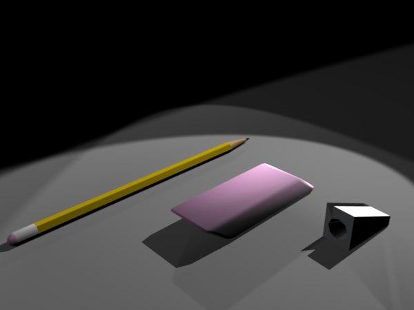 yellow pencil eraser sharpener 3d x