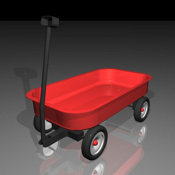 red toy wagon 3d model