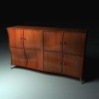 modelled wavy wooden cupboard 3d model