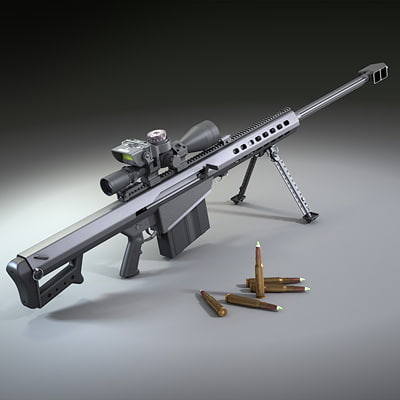 barrett m107 rifle 3d max