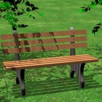 3d model wood park bench