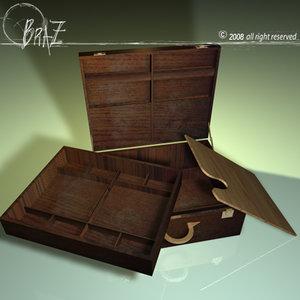 3d wooden suitcase