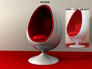 classic 60s egg chair 3d model