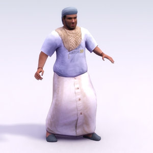 arab civilian dishdasha 3d model