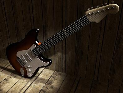 maya stratocaster guitar modelled