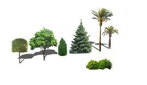 trees bush palm 3d 3ds