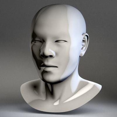 3d li asian male head reference