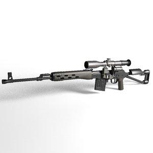 3dsmax svd-s sniper rifle dragunov svd