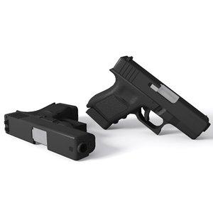 3d glock 30 handgun pistols model