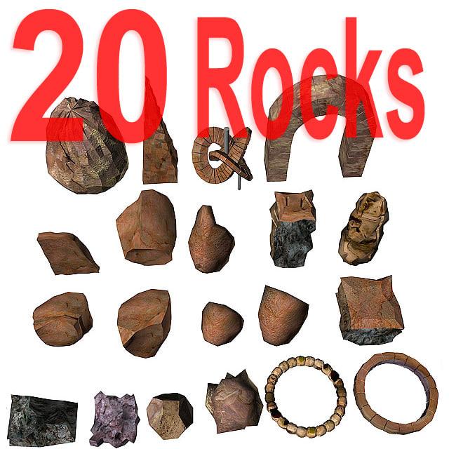 rocks boulders 3d max