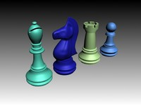 free chess pieces bishop knight 3d model