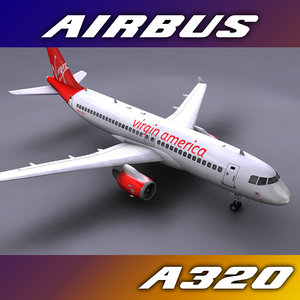 airbus a320 virgin 3d c4d