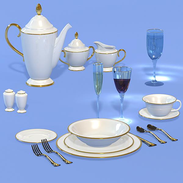 3d model elegant dinnerware dishes