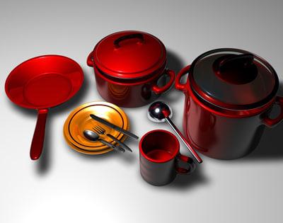 3d pot pan cookware