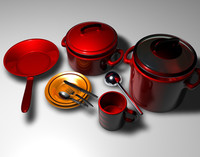 3d pot pan cookware