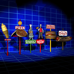 3d food sign 01 model