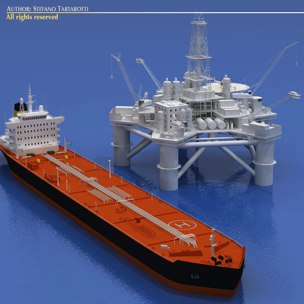 3ds max oil platform tanker ship