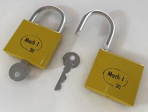 3d padlock model