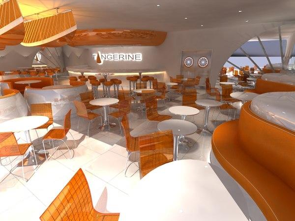3d modern restaurant bar