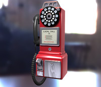3d vintage coin payphone
