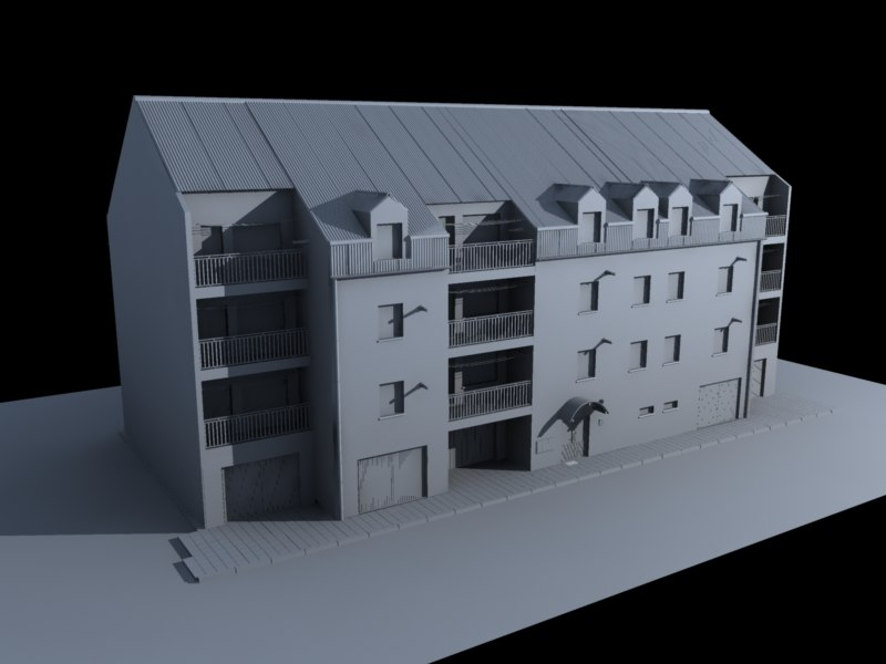 flat housing unit 3d model