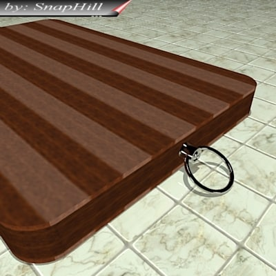 3d model wooden kitchen chop board