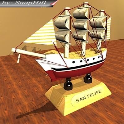 miniature ship 3d model