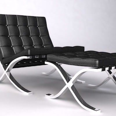 3d barcelona chair ottoman lounge model