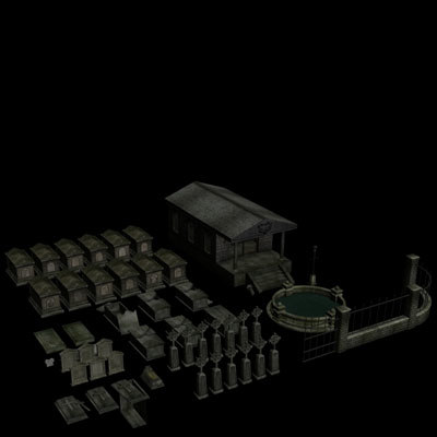 graveyard graves 3d model