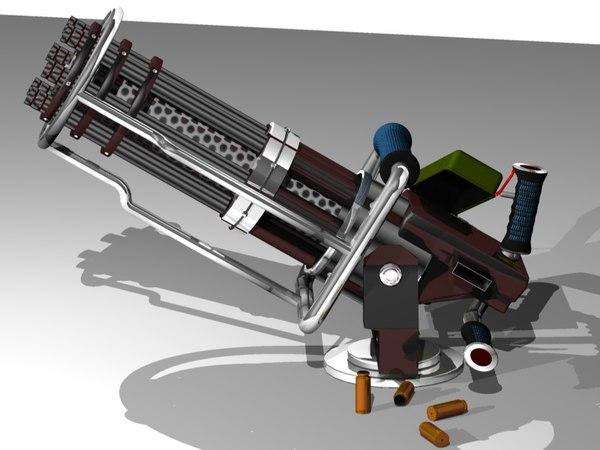 gatling gun 3d c4d