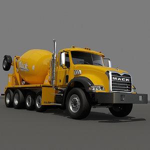concrete mixer truck engine 3d model