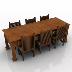 3d set table chairs model