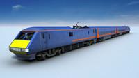 3d blue train model