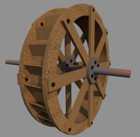 3d model water wheel