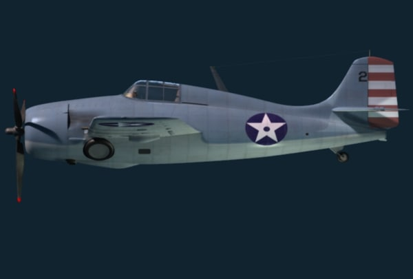 3d max f4f wildcat grumman fighter