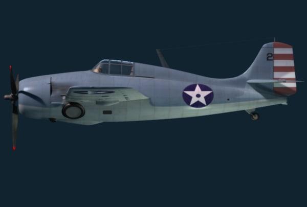 3d max f4f wildcat grumman fighter