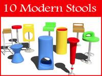 modern stools 3d model